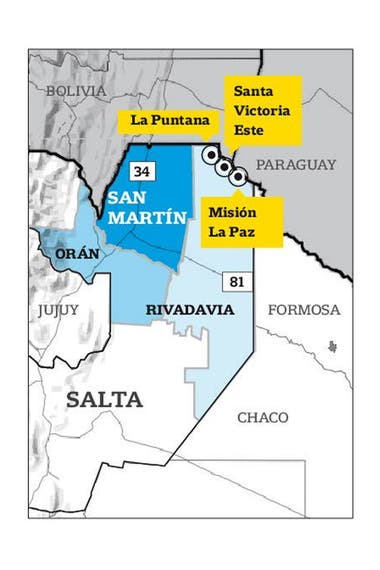 The northern area of ​​the province of Salta where the Wichis communities visited by LA NACION are