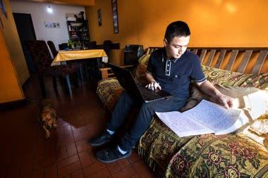 Mauro Bareiro studies for his classes