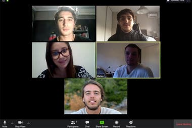 Part of the team of Salimos Elbow to Elbow Argentina, during one of their virtual meetings