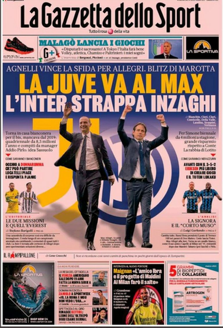 Gazzetta dello Sport newspaper cover