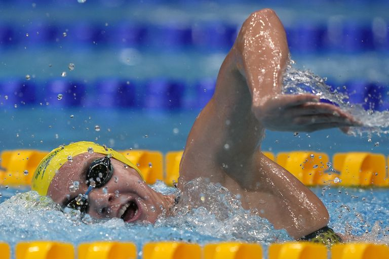 Australia's Ariarne Titmus during the women's 400m freestyle final at the 2020 Olympic Games on July 25, 2021, in Tokyo.  (AP Photo / Martin Meissner)