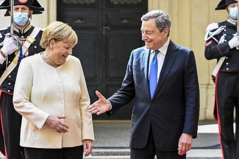 Merkel and Draghi at Palazzo Chigi